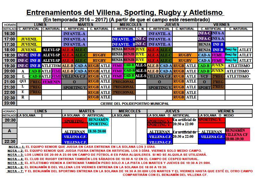 Cuadrante Campos de fútbol Temporada 16-17