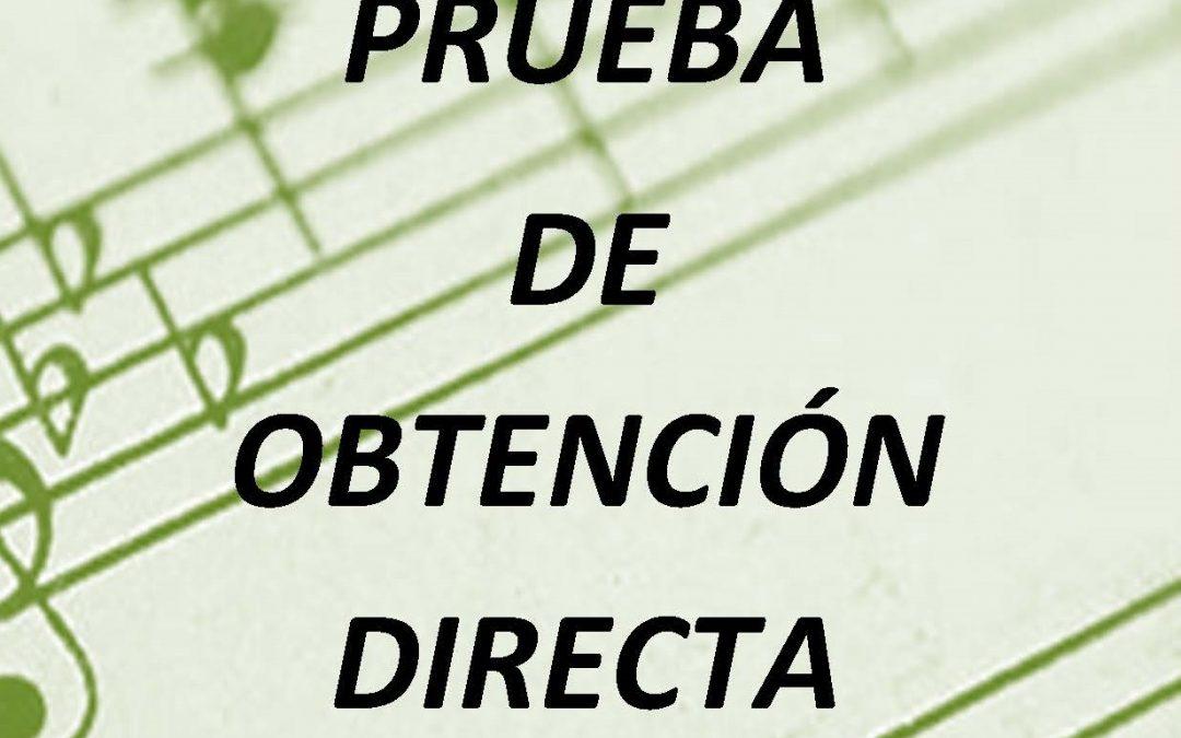 Prueba de obtención directa del certificado de Enseñanzas Elementales de Música