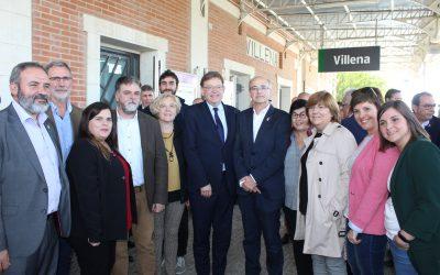 El President de la Generalitat inaugura en Villena el nuevo sistema de Cercanías