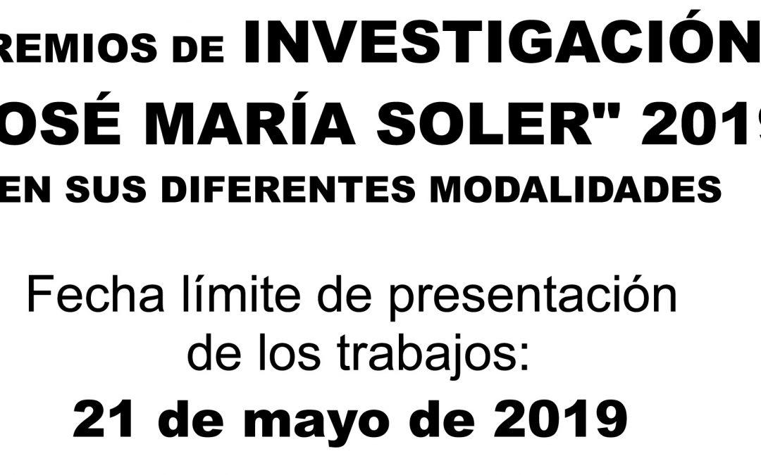 Últimas semanas para la presentación de trabajos a los Premios de Investigación José María Soler 2019