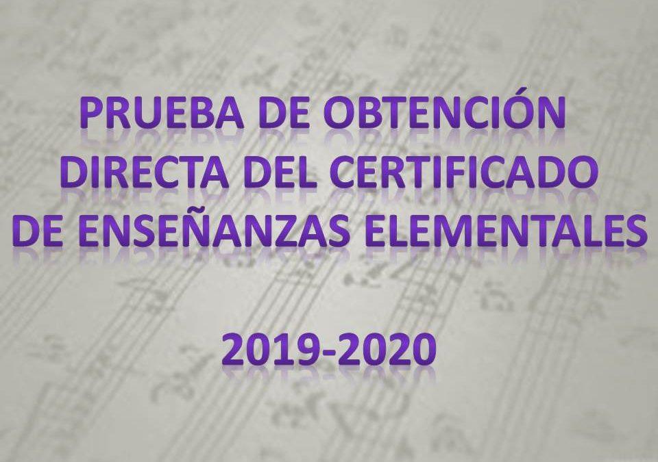Prueba de obtención directa del certificado de enseñanzas elementales