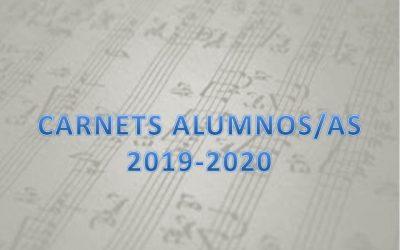 RECOGIDA CARNETS ALUMNOS/AS 2019-2020