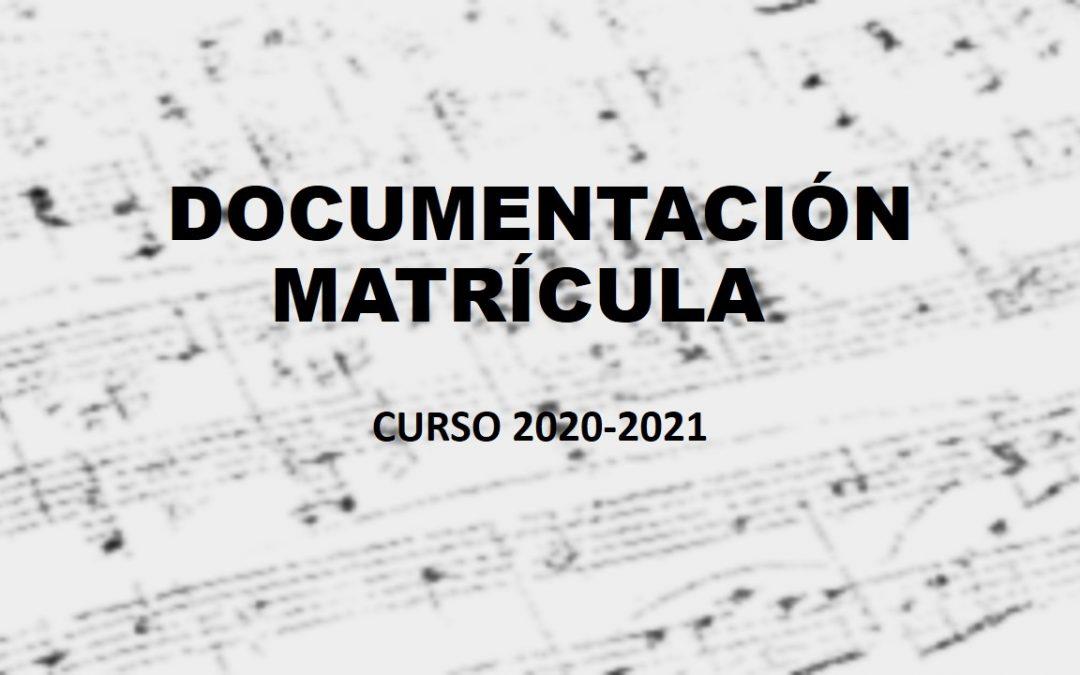 DOCUMENTACIÓN MATRÍCULA 2020-2021