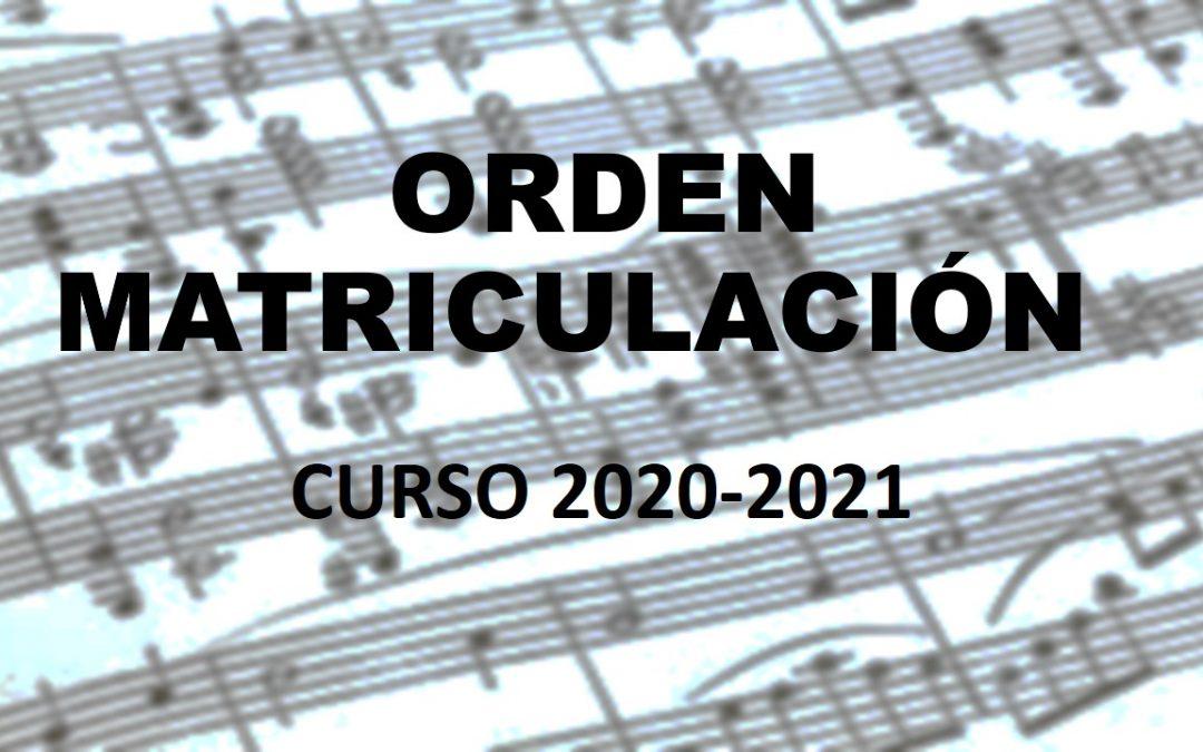 ORDEN MATRICULACIÓN 2020-2021
