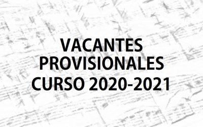 Vacantes provisionales Curso 2020-2021