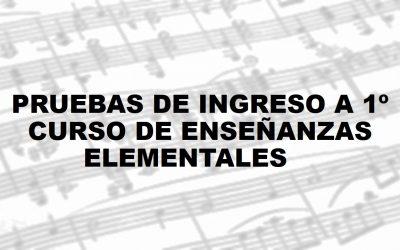 Relación de admitidos y vacantes para Prueba de Ingreso a 1º curso de Enseñanzas elementales de música