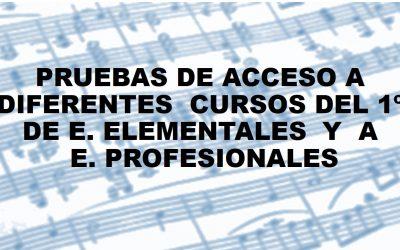 Relación de admitidos y vacantes para Prueba de Acceso a cursos diferentes del  1º de E. Elementales de música y a 1º de E. Profesionales